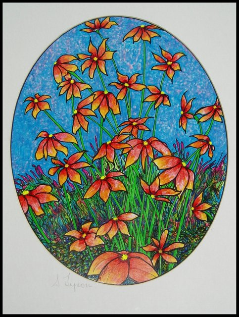 Oval Flowers by Sy Tyson